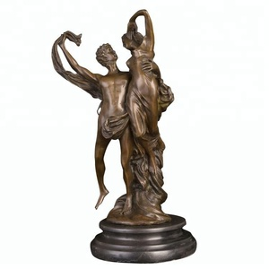Small size bronze statue sculpture of couple man with women making love
