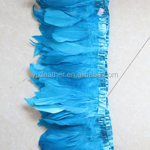 dyed color cheap goose feather trim fabric trimming feathers