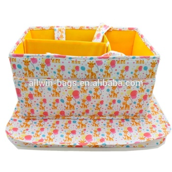 Custom Full Printed Polyester Foldable Diaper Caddy Travel Diaper Bag