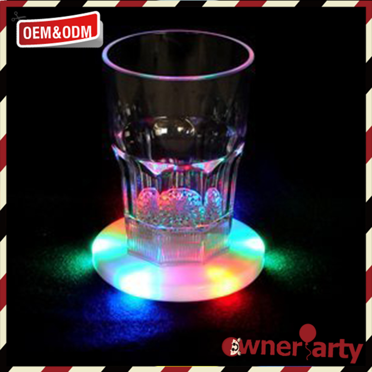 Hot sell party supply custom light up cup coaster, led flashing wine bottle sticker