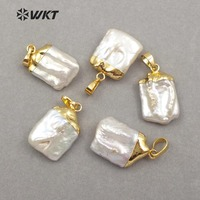 WT-JP071 Unique Design 18K Gold Capped For Women Jewelry Making White Square Shape Pendant Natural Baroque Pearl Pendant