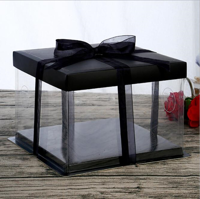 environmental decorative transparent hard PET plastic cake box in stock