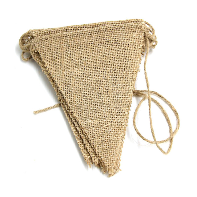 13 Flags 3m Vintage Jute Hessian Burlap Bunting Banner Wedding Party Photography Props Decoration Banner For New Year Party