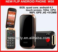 new 2014 flip SOS cdma gsm mobile phone 4.1 GPS. WIFI W58