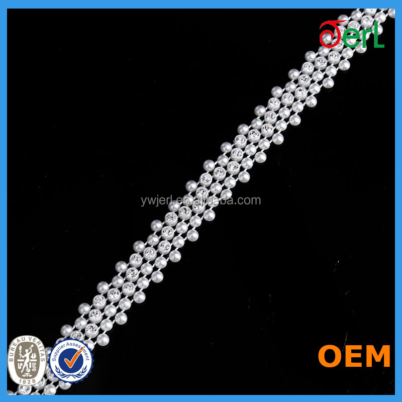 2016 Factory Direct Sale Garment Adornment White Plastic Bead Mesh Trims