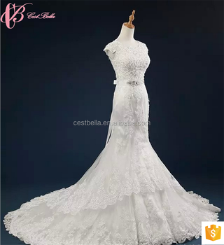 2017 Chinese Traditional Lace Beaded Rhinestone Wedding Dress Mermaid