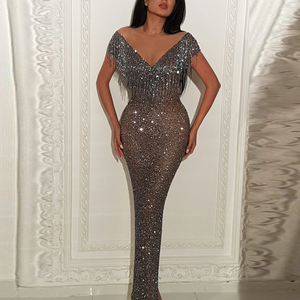 Women Sequin Evening Dress Bling Formal Dresses Mermaid Fashion Glitter Ladies Long Maxi Gowns