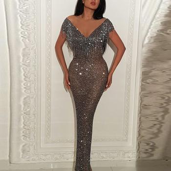 6cc44b398fc9 Women Sequin Evening Dress Bling Formal Dresses Mermaid Fashion Glitter  Ladies Long Maxi Gowns