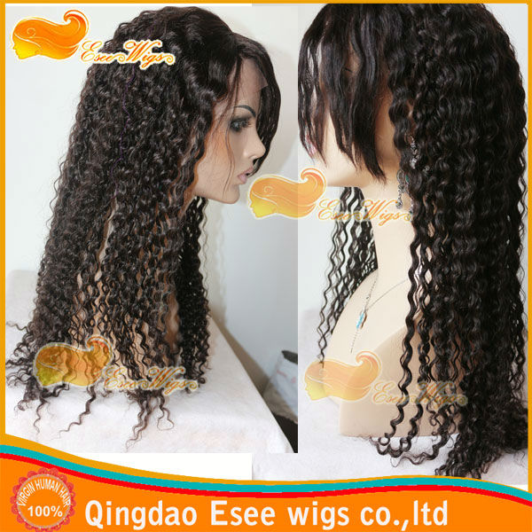 FREE SHIPPING!! ESEE WIGS human hair front lace wigs with bangs lndian remy hair wig curly wis 150% denstiy 2# color
