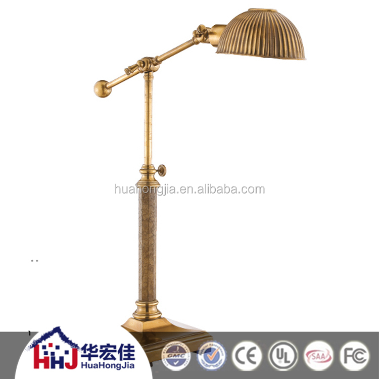 hotel solid antique american style brass marble decorative table lamp with adjustable arm