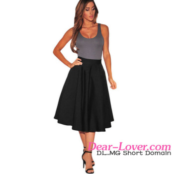 Black Flared A-line Midi Latest Formal Skirt Blouse Patterns For ...