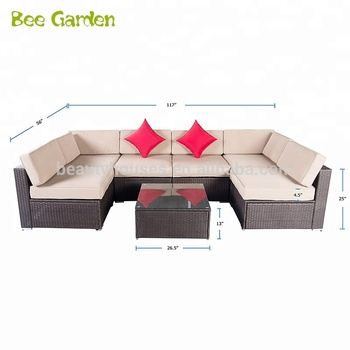 7 Pcs Rooms To Go Outdoor Furniture Rattan Wicker Sectional Sofa Set With Gl Coffee