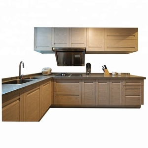wood veneer manufactured kitchen cabinet design with Multicolor option on sale