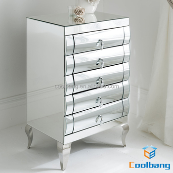 Stainless Steel Legs Curved Mirrored Dining Room Used Chest Of Drawers