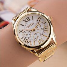 Hot Luxury Geneva Fashion Women Ladies Watches Gold Stailess Steel Roman Numerals Analog Quartz Wrist Watch