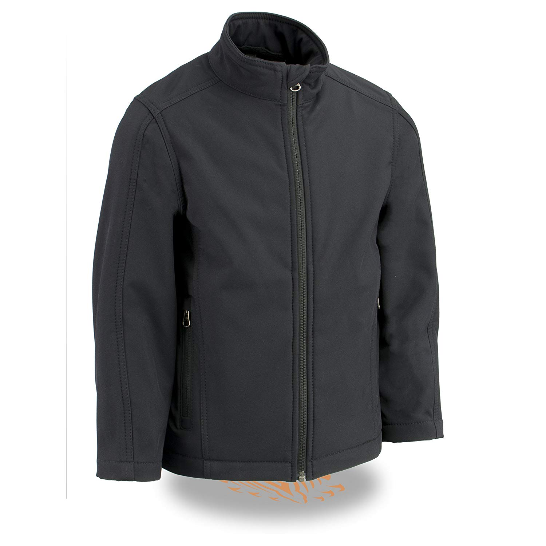 6c1e7f7978ab4 Get Quotations · Milwaukee Leather Boy s Waterproof Lightweight Zipper  Front Soft Shell Jacket (Black