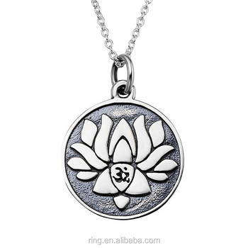 Vintage om yoga namaste lotus flower silver disc pendant necklace vintage om yoga namaste lotus flower silver disc pendant necklace mightylinksfo