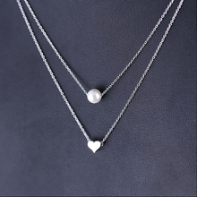 Korean Style Silver Heart Shape 925 Silver 펄 Plating Birthday Party 펜 던 트 Women's <span class=keywords><strong>목걸이</strong></span>