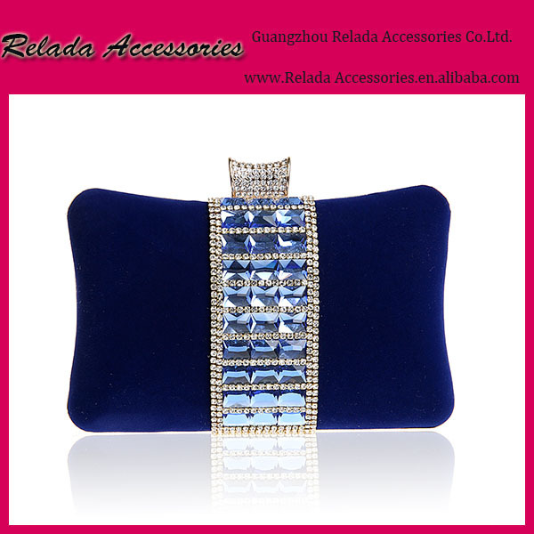 Factory wholesale pretty luxury trendy crystal navy blue evening clutch bag for parties