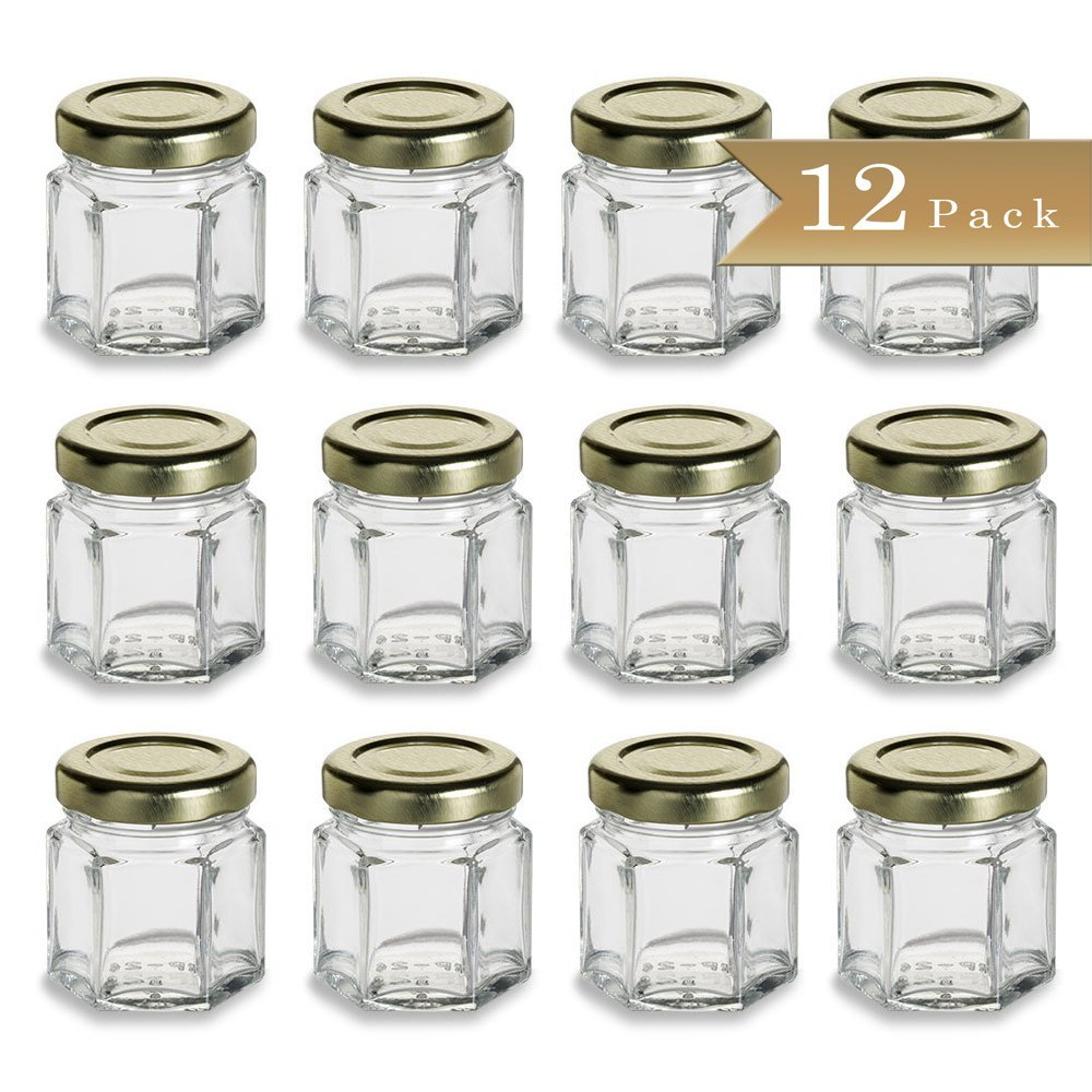 12 - TrueCraftware Mini 1.5 oz Hexagon Glass Jars with Gold Covers - Pack of 12 - Jars for Jam, Honey, Favors, Baby Food Jars - Home Canning Jars - Gifting Jars