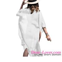 Cheap Pretty White Crinkle Sheer Chiffon Long Kaftan beach wear cover up
