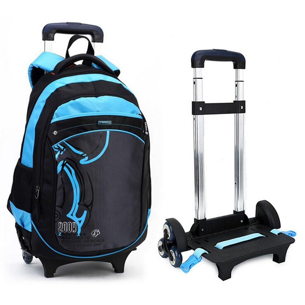 ac2f9c71e4aa Get Quotations · Flyshine Kids Nylon Trolley Bag School Backpack Rolling  Backpack With 3 Group of Silence Wheels