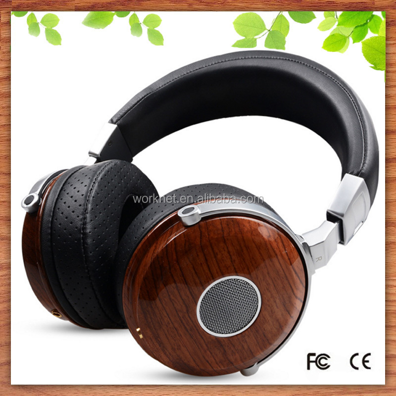 Shenzhen factory high quality wired <strong>communication</strong> and 3.5mm connectors professional wooden rose wood headphone wholesale
