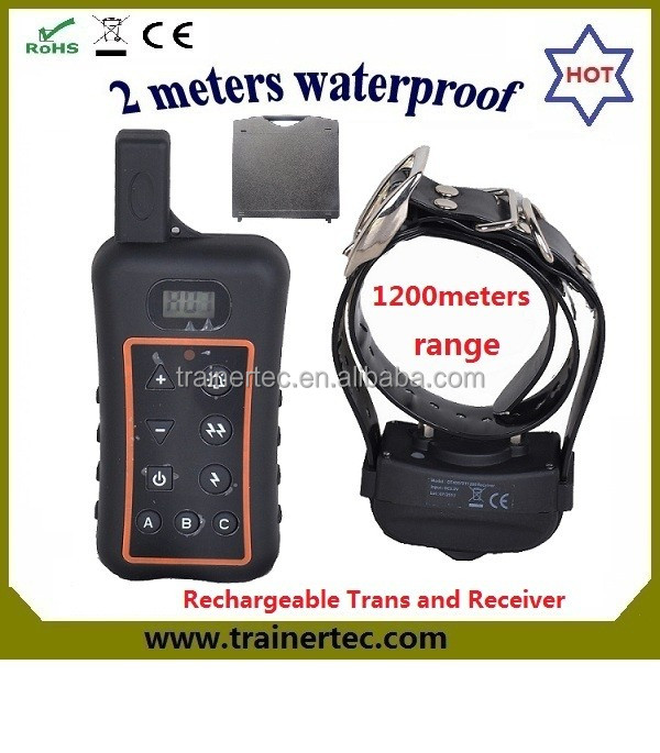 save 20% hot sell 1200Meter waterproof & rechargeable remote dog electric shock collar