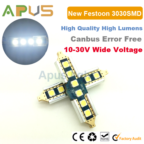 Super bright 10-30V 6pcs SMD3030 39mm 41mm 42mm C5W led festoon