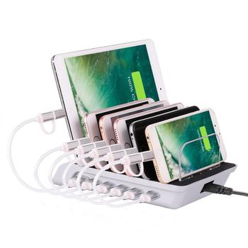 6 Port Usb Charging Dock Desktop Multiple Charger Cell Phone Docking Station