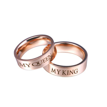Simple Engagement Stainless Steel Rose Gold Design Couple Ring Buy