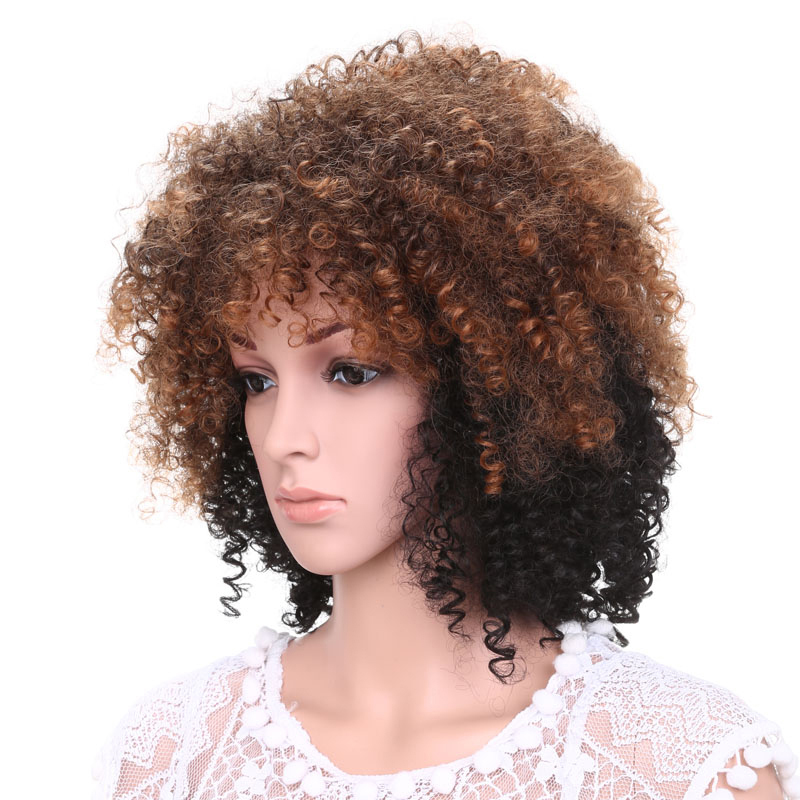 "Halloween Costume Pixie Clown Wig 18"" Synthetic Funny Ombre brown Afro Kinky Curly Hair Wig For Women"
