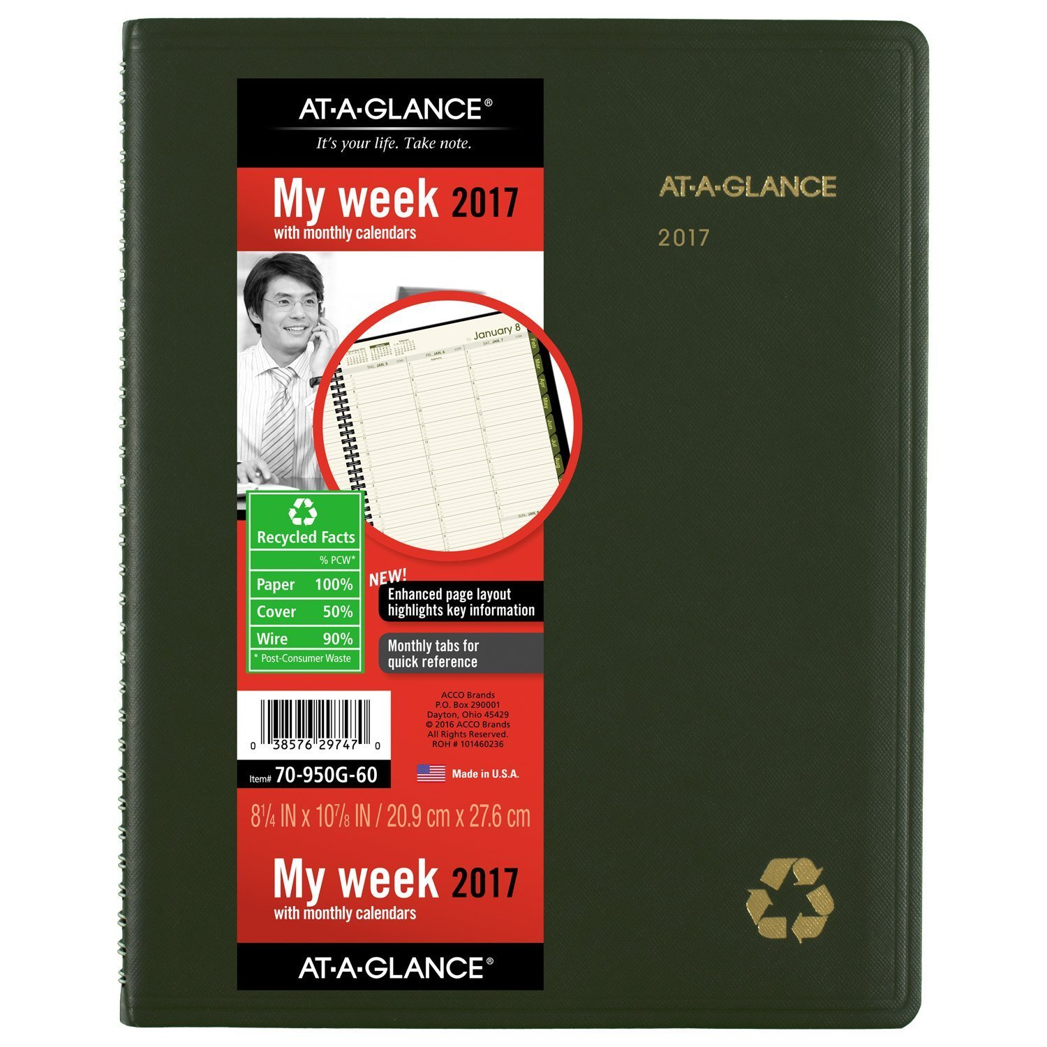 "AT-A-GLANCE Weekly / Monthly Appointment Book / Planner 2017, Recycled, 8-1/4 x 10-7/8"", Green (70-950G-60)"