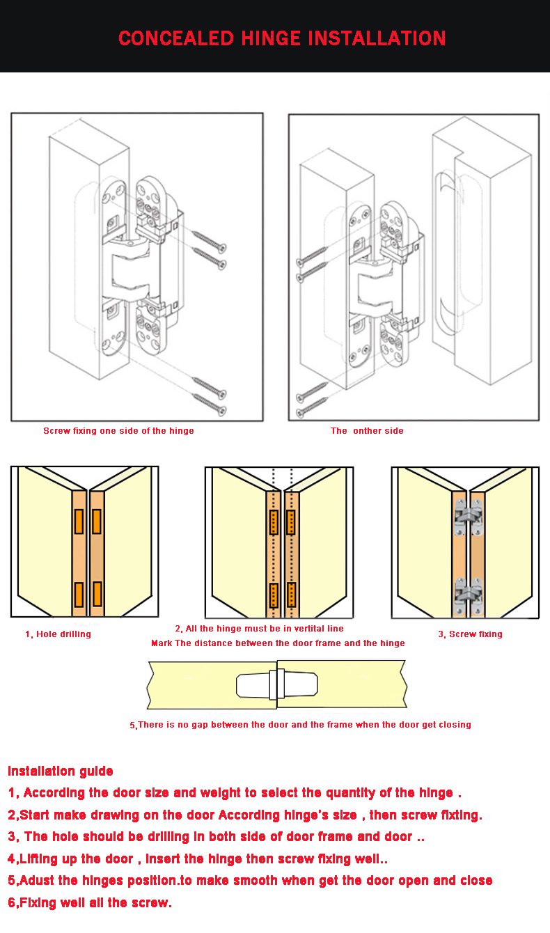 2019new product 3 Direction adjustable completely concealed hinges system door hinge