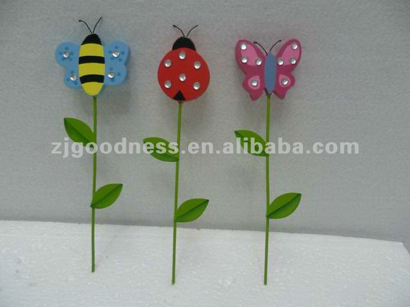 Good Sale 6-1/4''H Garden Plant Stakes Set of Three Animal Stake, Butterfly and Ladybug