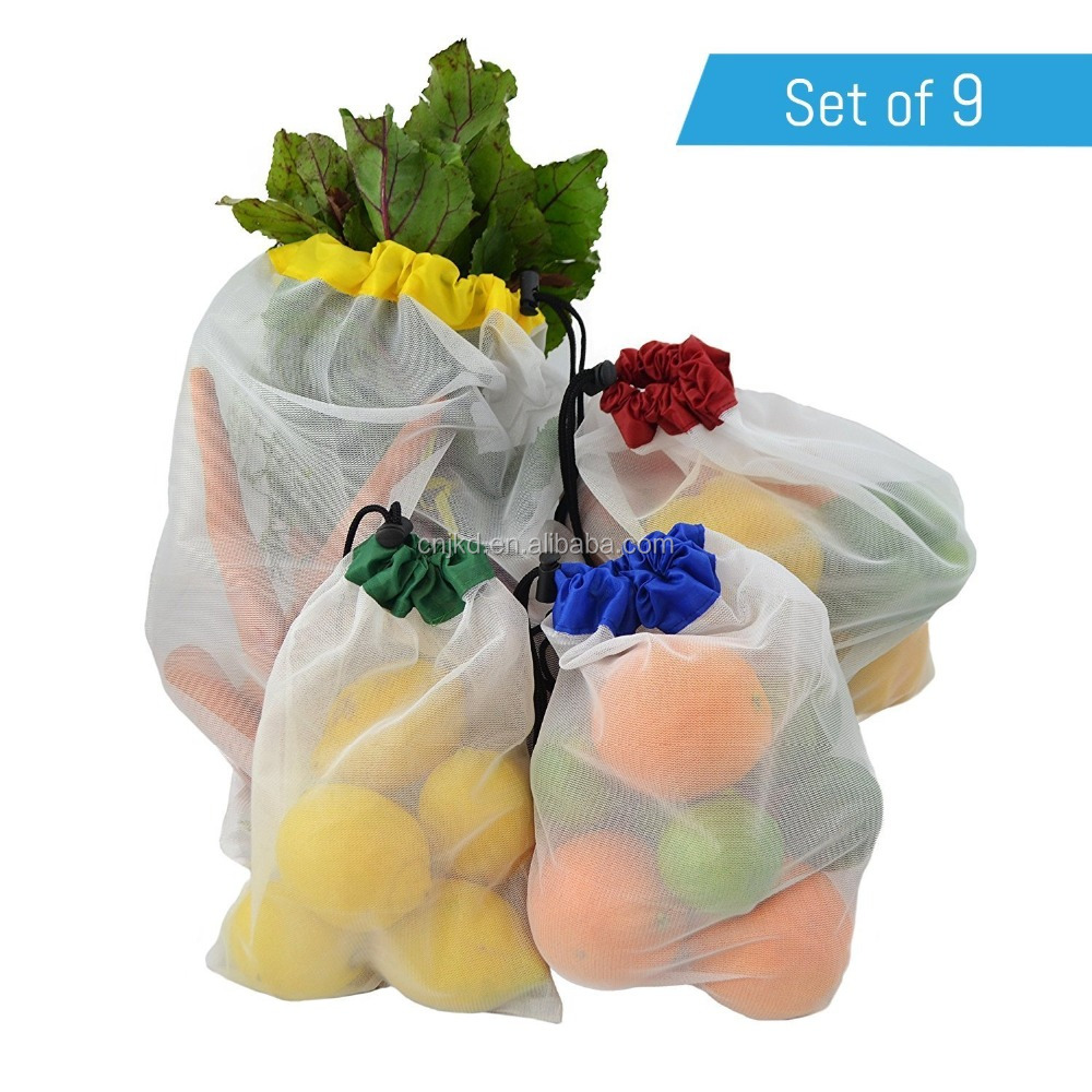 Recycle Packing Fruit And Vegetable Drawstring Bag with Mesh Back