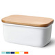 Large ceramic butter dish porcelain keeper with beech wooden lid, Perfect for 2 sticks of butter