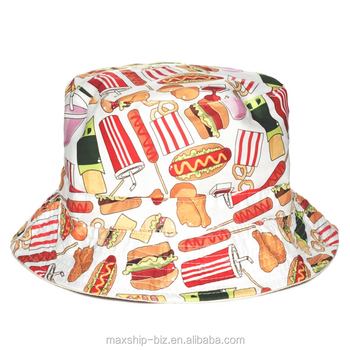 8902e56cb0e Cartoon Full Fast Food Printing Funny Bucket Hat - Buy Bucket Hats ...