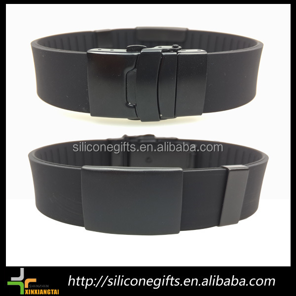 plain black silicone sport wristband stainless steel men's bracelet with tin box