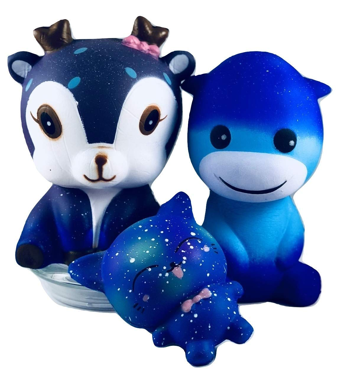 HMC PRODUCTS Squishie Friends Galaxy Edition- Cute Squishies Slow Rising and Scented. Jumbo squishies in Every Pack, Squishies Pack of 3, Collectable Toys (Magical Forest)