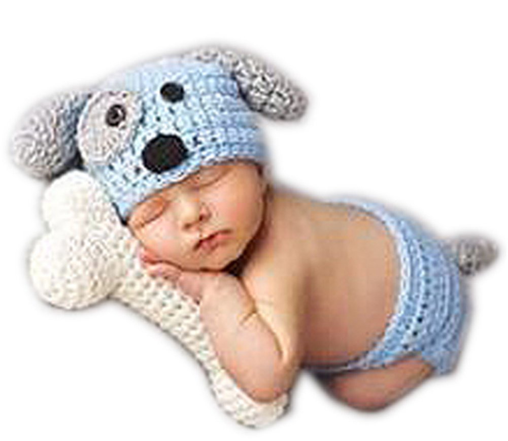 eb55713e5 Get Quotations · Newborn Baby Photography Photo Props knitted Dog Bone Costume  Girl Boy Photo Props (Blue)