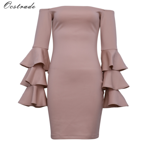Alibaba.com / Ocstrade Hot Sale Fashion Women Nude Butterfly Sleeve Off Shoulder Bodycon Bandage Dress