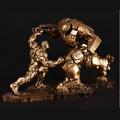 Limited Quantity 2pcs Set Hulk VS Iron Man MK44 Statue Finish Painting Resin Staue Lmitation Bronze