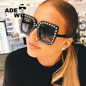ADE WU New Luxury Brand Designer Oversized Square womens Sunglasses 2018 Diamond Frame Mirror Sun Glasses