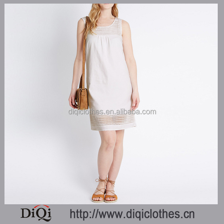 Diqi Brand Direct Factory Wholesale Girl Casual Vest Dress Round Neck Hole Hem White Dress