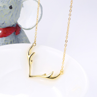 Christmas gift antler shape pendant silver necklace chain