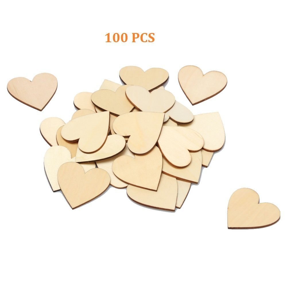 RERIVER 2-Inch Unfinished Wooden Heart Blank Wood Cutout Heart Slices Discs DIY Crafts(100pcs)