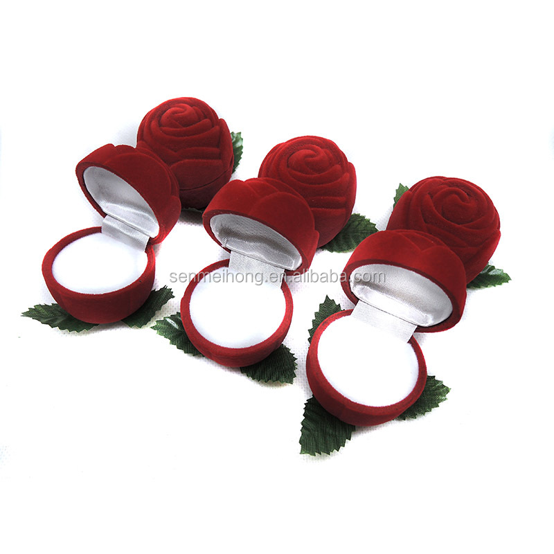 Artificial Red Velvet Rose Fiore con Jewellery Box