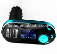 T66 Car MP3 Player With LCD Screen Dual 2 USB Car Charger TF Card Solt FM Transmitter Remote Control Auto Audio Player