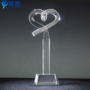 New design crystal heart award trophies for souvenir